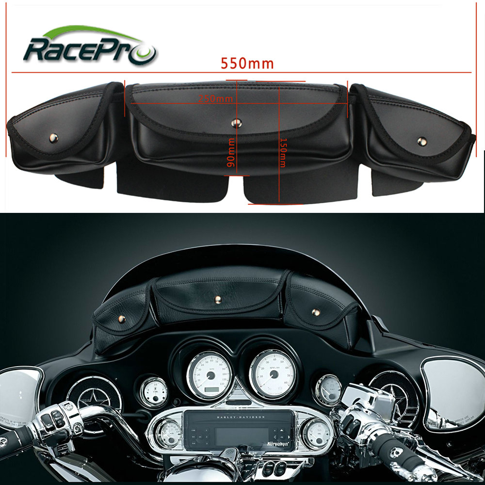 Leather Front Tool Pouch Motorcycle Windshield Bag For Harley Davidson Flhx Street Glide Trike