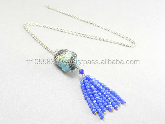 Blue Turqoise tassel silver and gold plated necklace.