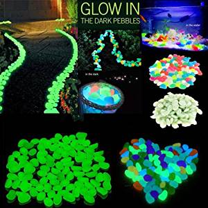 Gift Pord 300 Pcs Colorful Rocks Glow in the Dark Garden Pebbles for Walkways Outdoor Fairy Garden, Glowing Stones for Driveway, Fish Tank Aquarium Glow Decorations Gravel (300 Pcs)