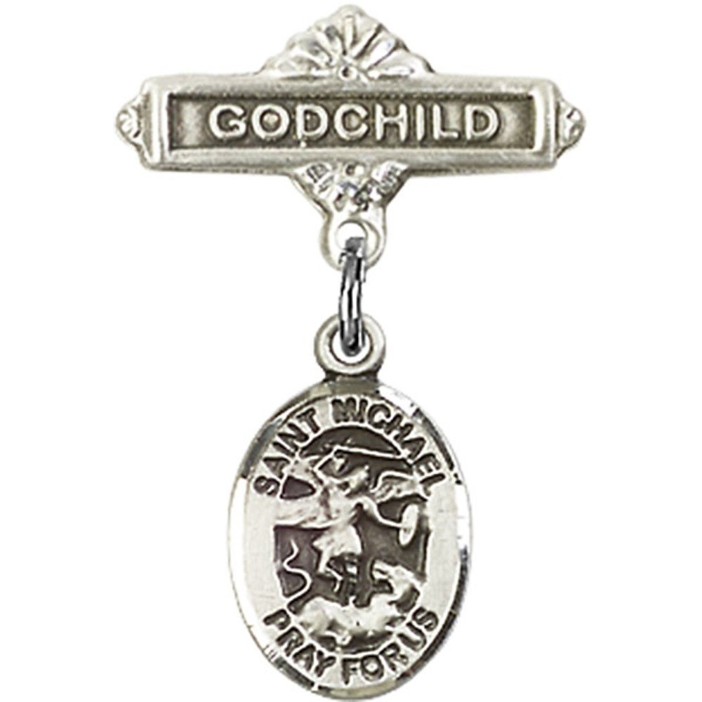 Sterling Silver Baby Badge with St. Michael the Archangel Charm and Godchild Badge Pin 1 X 5/8 inches