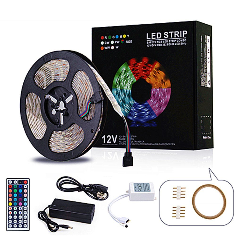Neraon 16.4ft (5M) led Light Strip Kit, 12V DC Flexible Light Strips, 300 LEDs SMD 5050 RGB LED Light Strip, led Strip Lights with Remote 44Key IR Remote Controller for Indoor Kitchen Bedroom Party