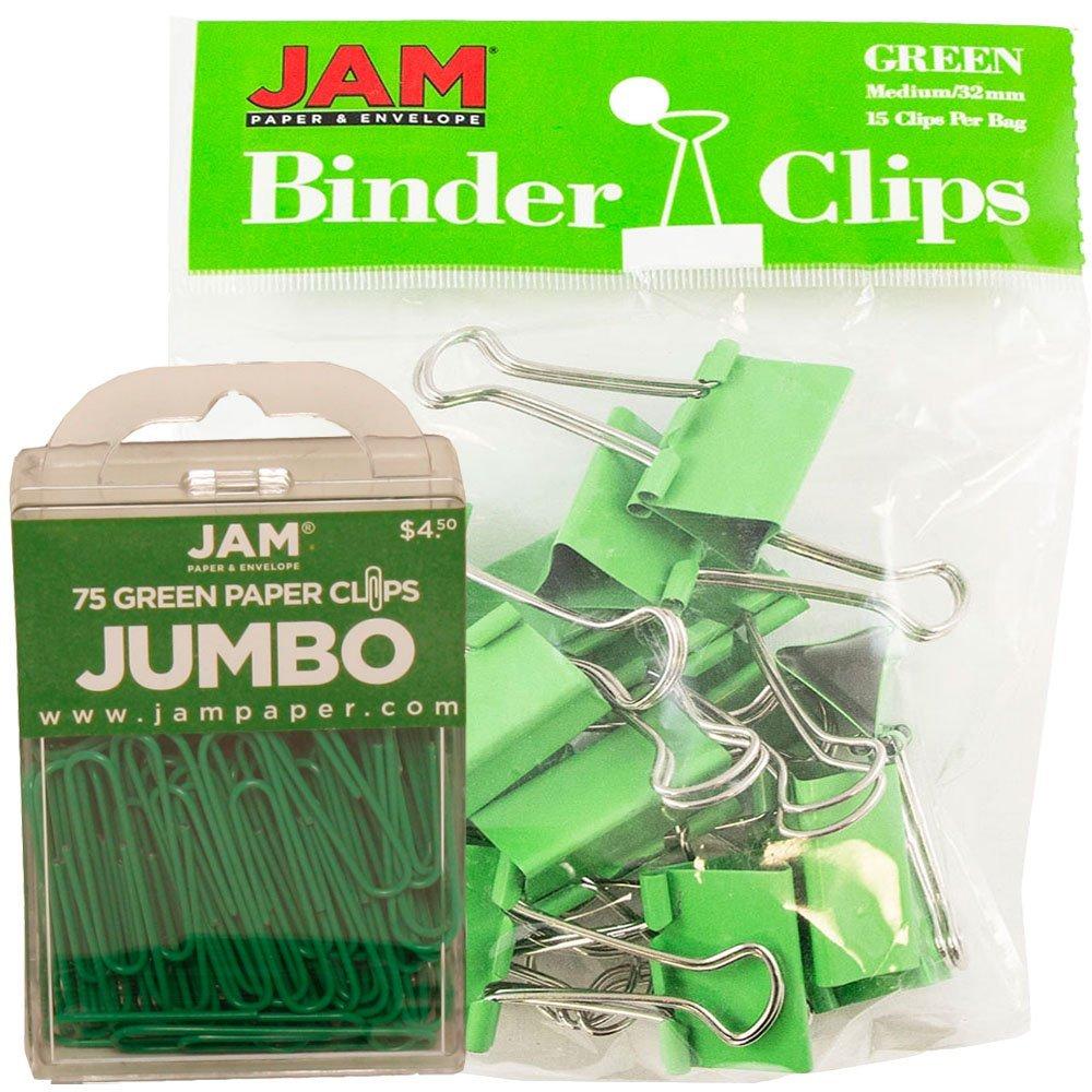 JAM Paper Office Desk Supplies Bundle - Green - Jumbo Paper Clips & Medium Binder Clips - 1 Pack of Each (2 Packs Total)