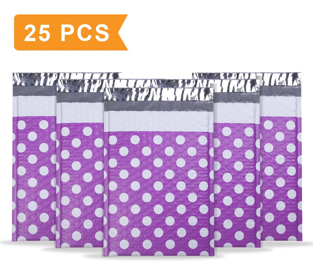 """UCGOU #0 6x10"""" Purple Dot Poly Bubble Mailers Pack of 25Pcs Padded Envelopes Boutique Custom Bags"""