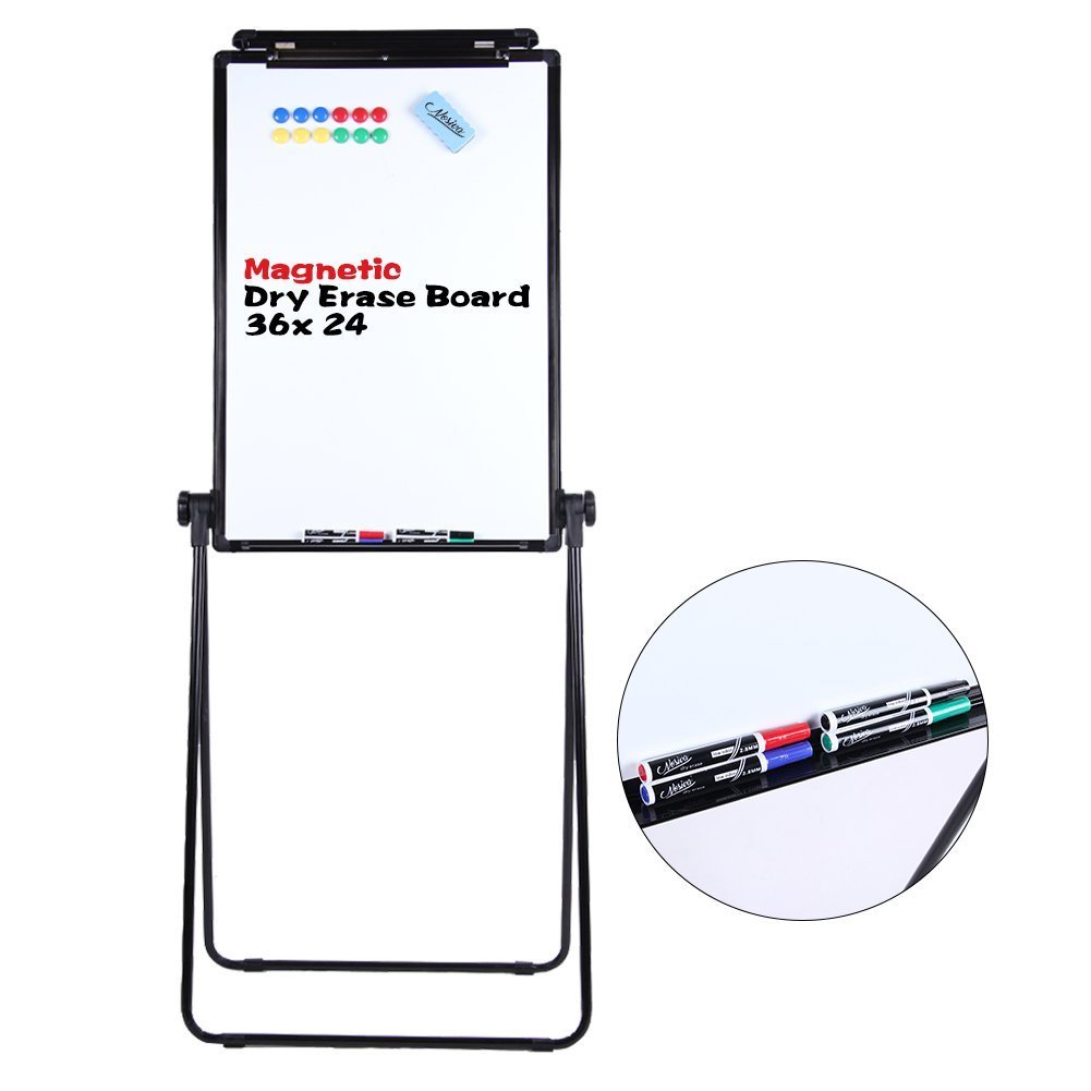 ECO Magnetic U-Stand Whiteboard / Flipchart Easel, Double Sided Easel White Board 24 x 36 Inches, Height Adjustable Rotating Dry Erase Board w/ 4 Markers, 1 Eraser & 12 Magnets
