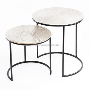 Iron And Aluminium Nesting Fancy Side Table Set Of 2 ~ Coffee Tables  Wholesale