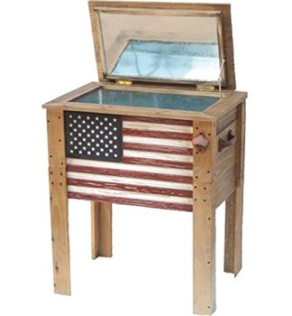 54 Quart Wood Ice Chest Cooler Table