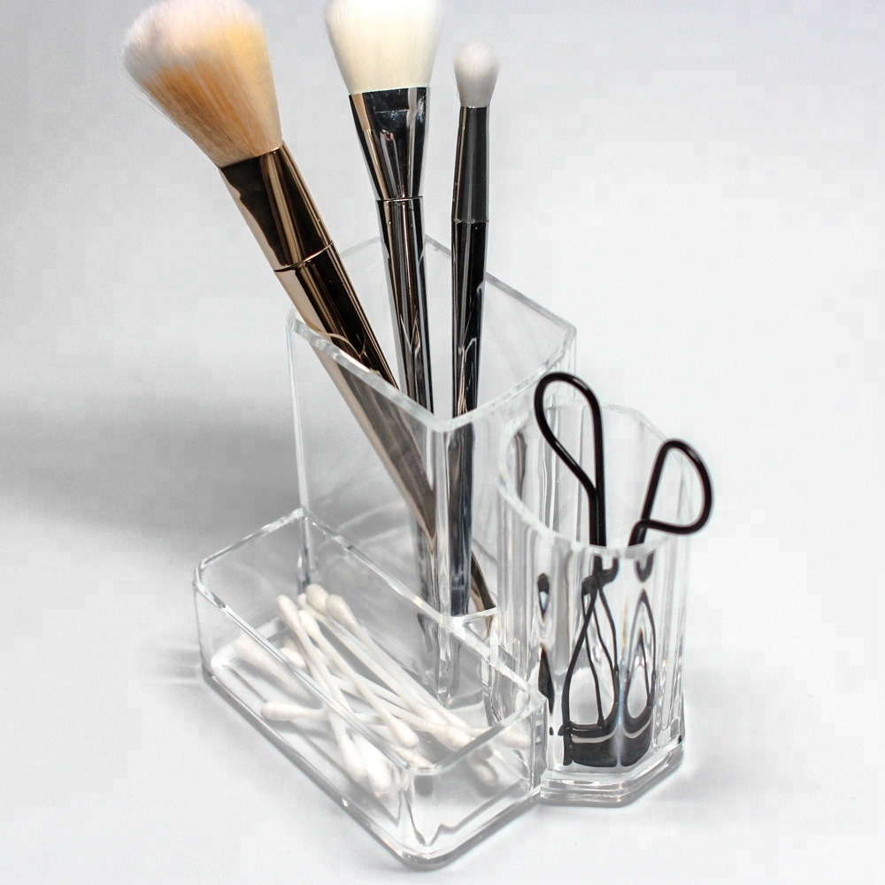 Trade Assurance Drying 3 Compartment Cosmetic Brush Holder