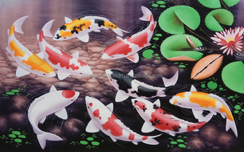 Koi Fish Painting   Original Hand Painted Oil Color On Canvas Wall Art  Modern Home Decoration