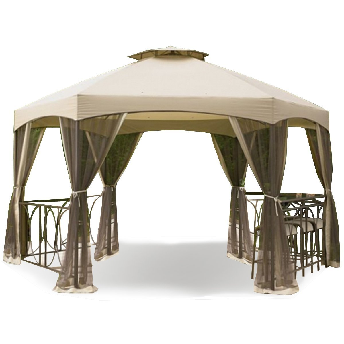 Garden Winds LCM823BUGF-RS Dutch Harbor Gazebo RipLock 500 Replacement Canopy, Beige