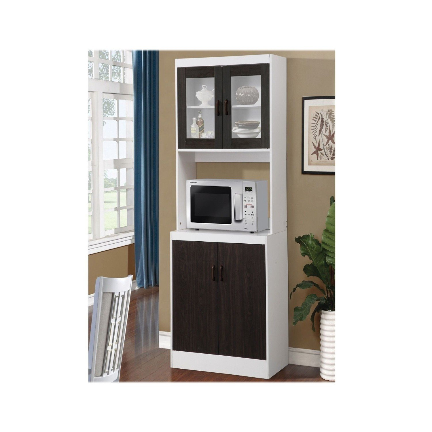 Get Quotations Usa Stock Tall Kitchen Microwave Stand Utility Cabinet Storage Shelves Cupboard 3 Colors