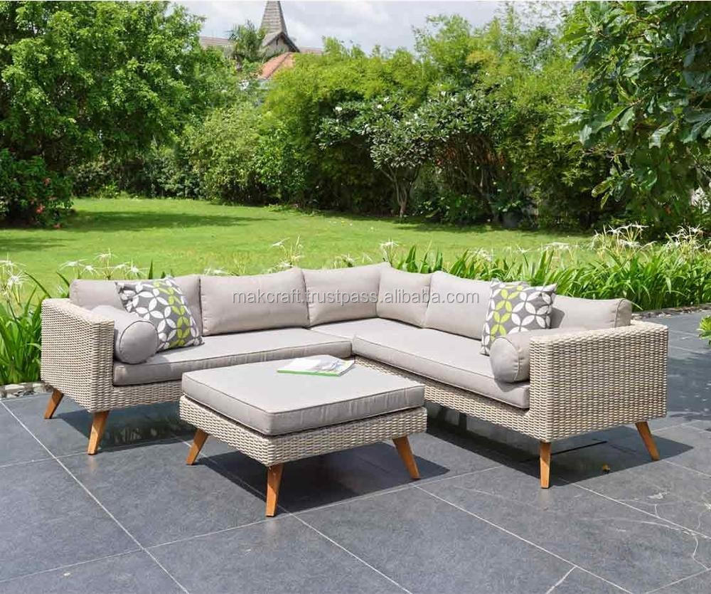 Patio Outdoor Wicker Rattan Garden Teak Solid Wooden Sofa Set Corner L Shape  Lounge Furniture
