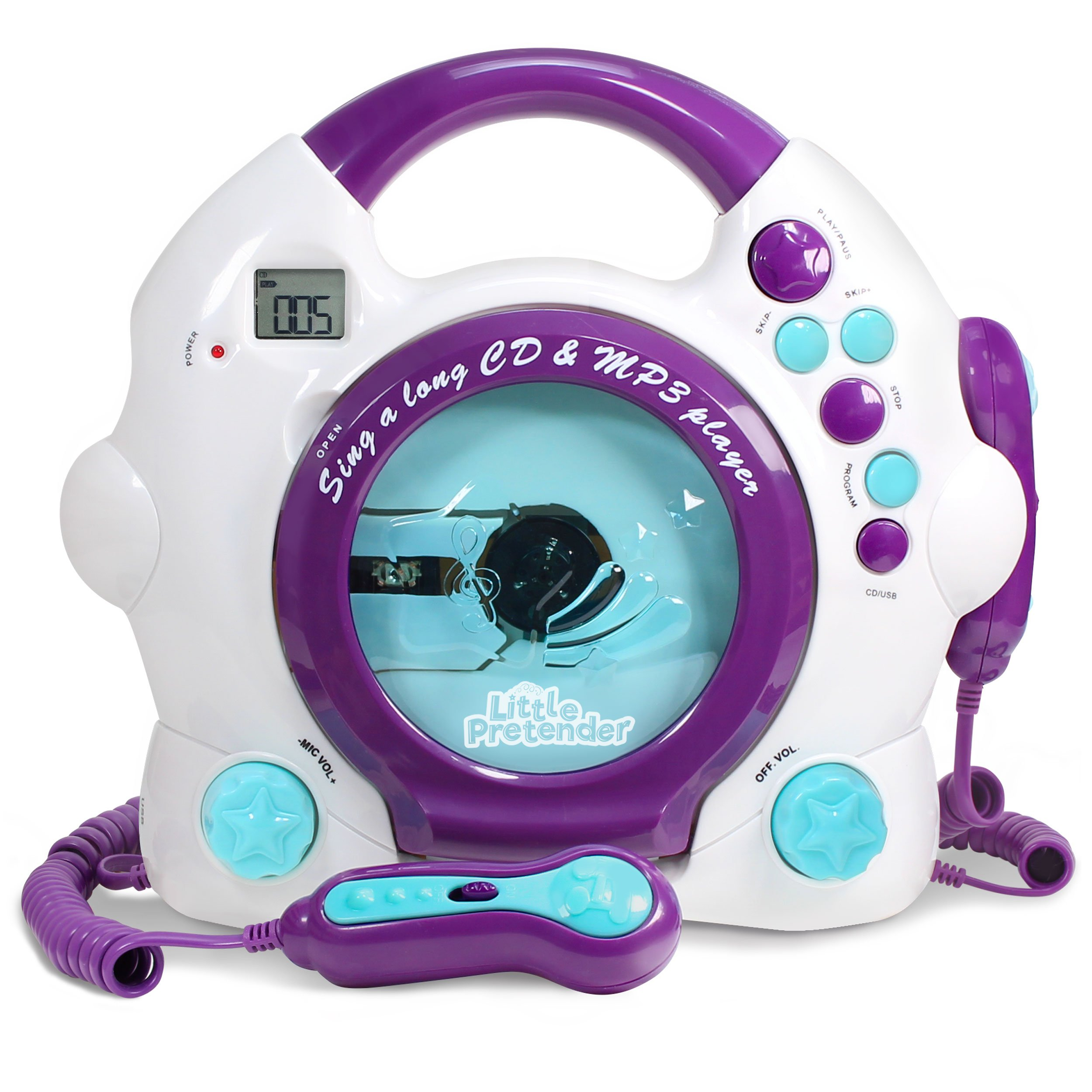 b70e3789b49e Little Pretender Kids Karaoke Machine - CD   MP3 Player Sing-A-Long Music  Player with 2 Microphones