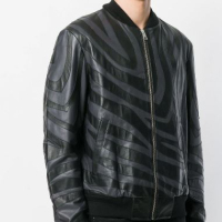 Men's Leather Jacket with classic band collar and snap button closure(FJ-014)