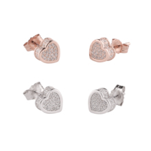 Silver Sterling 925 love heart stud earrings crystal CZ <span class=keywords><strong>zirconia</strong></span> Rose Gold plated women small earring
