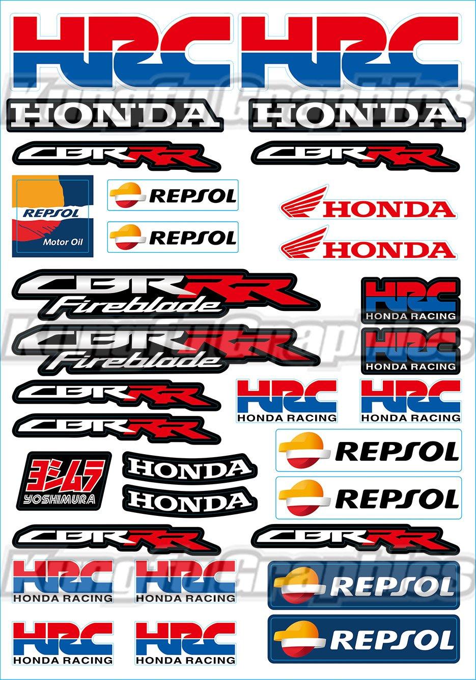 9X HONDA RACING CORPORATION HRC PRINTED STICKERS DECAL SHEET SPONSOR BLACK