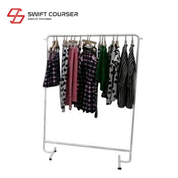 Retail store rolling clothing garment display rack