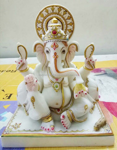Pure White Marble Stone God of Ganesha Moorti