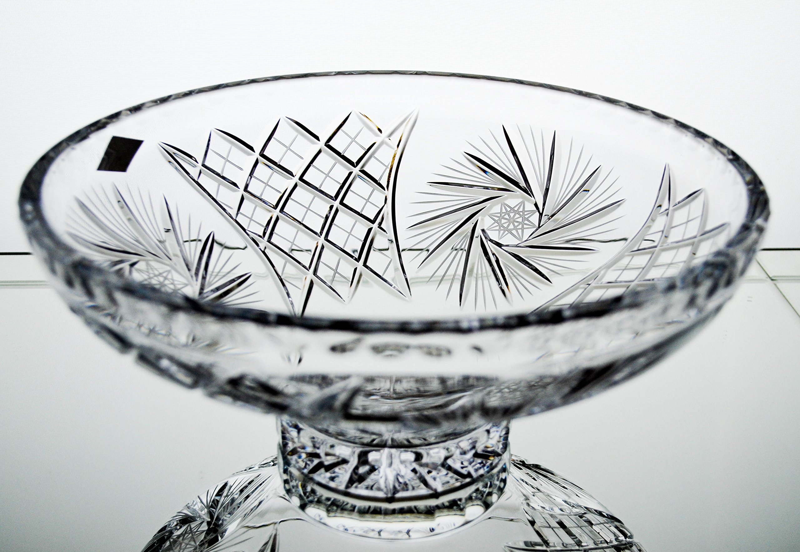 """Czech Bohemian Crystal Glass Bowl 10""""-Dia Hand Cut Decorative Gift Crystal Glass Bowl Vintage Design Elegant Centerpiece Dish Salads Fruits Candies Classic Style Crystal Glass"""