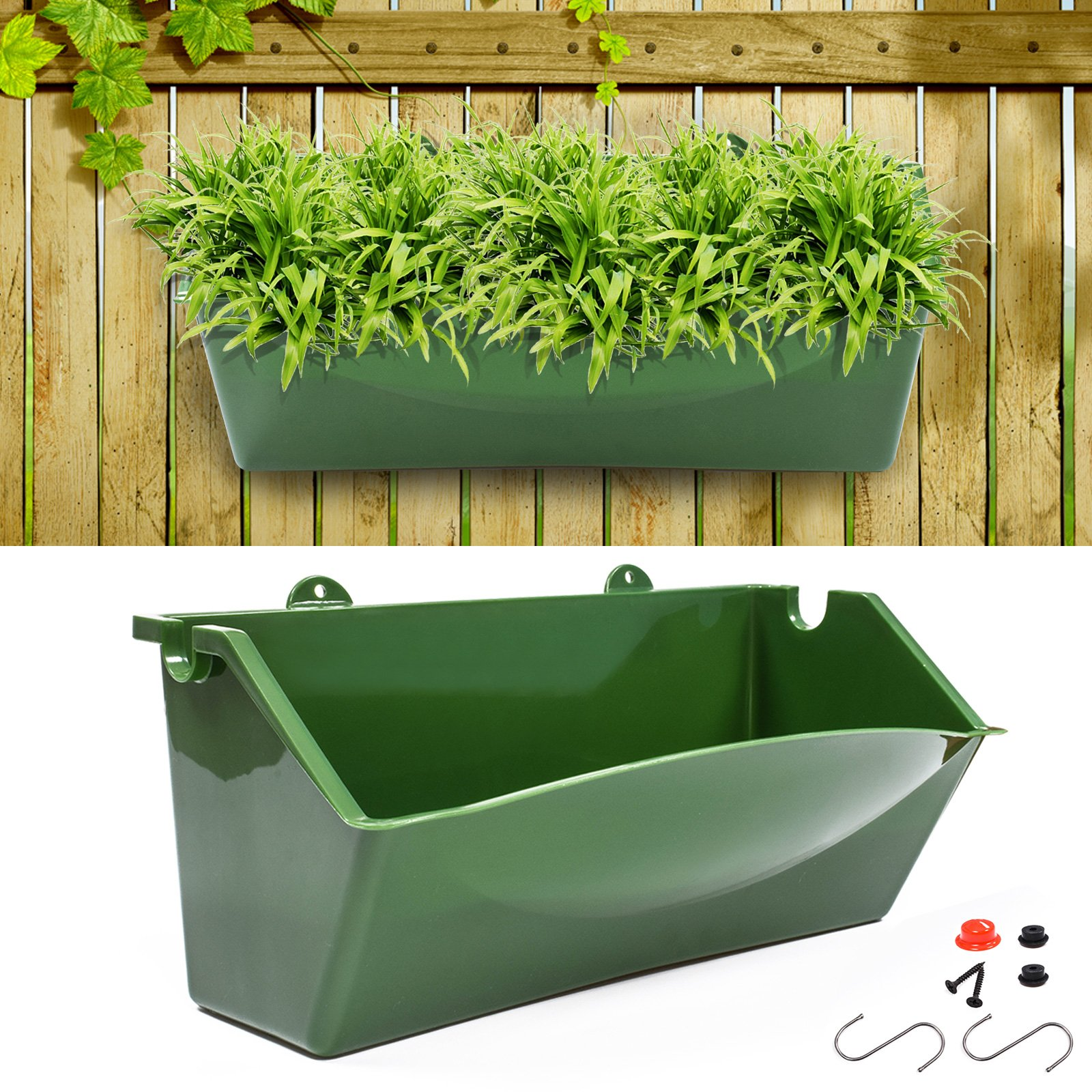 Get Quotations · KORAM 12 Inch Vertical Garden Planter Wall Mount Hanging  Flower Box Living Wall Planter Plant