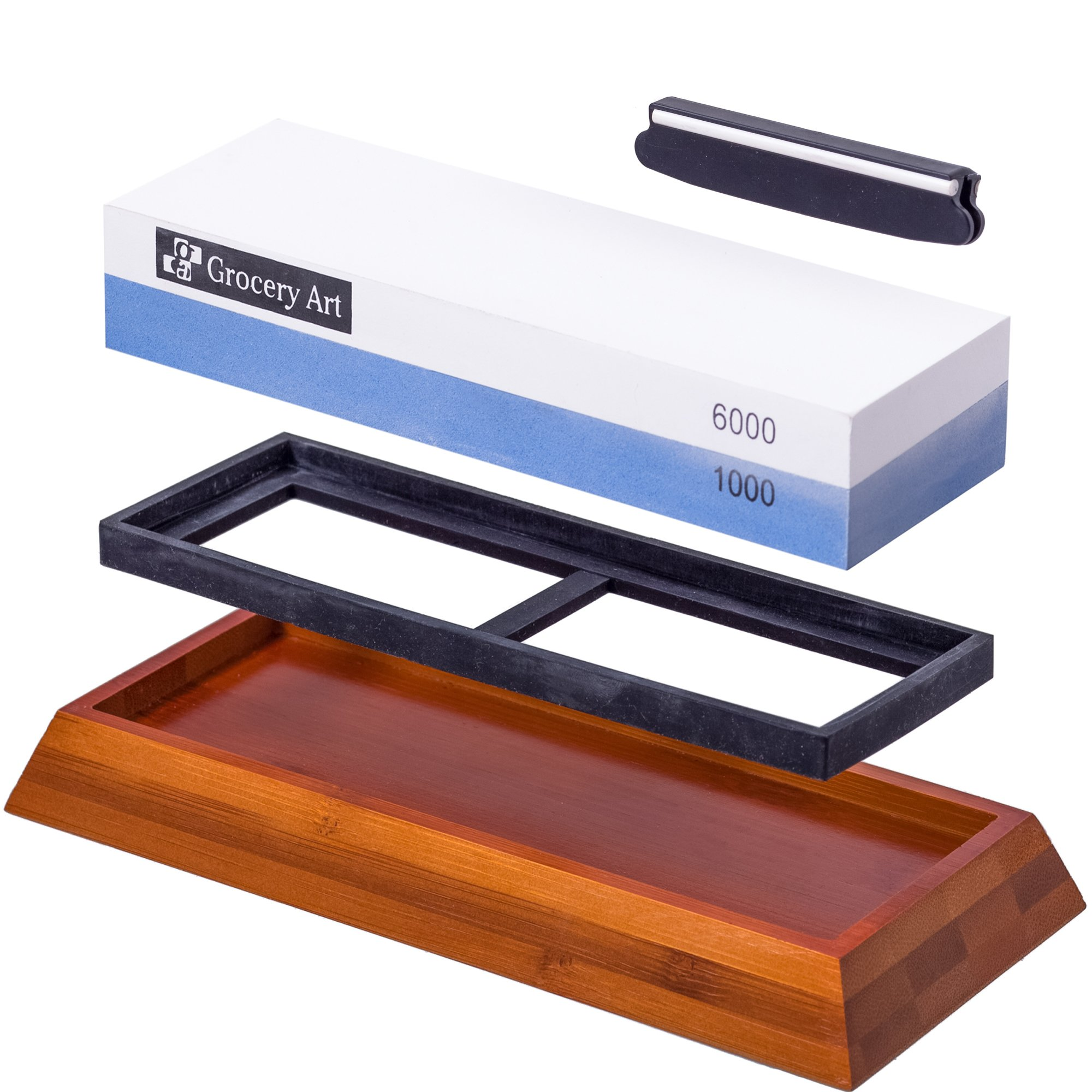 Whetstone Knife Sharpening Stone   Waterstone Knife Sharpener 1000-6000  Grit with Non-Slip Bamboo Base and Angle Guide   Best Wet Stone Kitchen  Knives ...