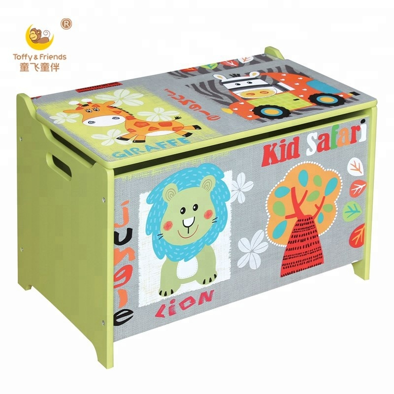 Wooden Kids Toy Storage Box In Jungle