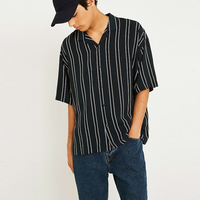 OEM Plus Size Shirts Oversize Full Button Top Black Stripe Men Shirt