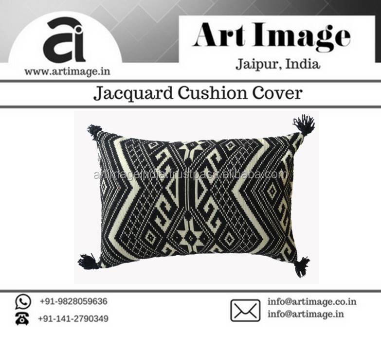 latest indian cotton diamond knitted cushion decorative pillow cushion cover with wool tassel at wholesale rate