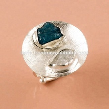 <span class=keywords><strong>Due</strong></span> <span class=keywords><strong>Pietra</strong></span> 925 Anello In Argento Sterling, Acquamarina Neon Apatite Grezza Naturale Della <span class=keywords><strong>Pietra</strong></span> Preziosa di Gioielli