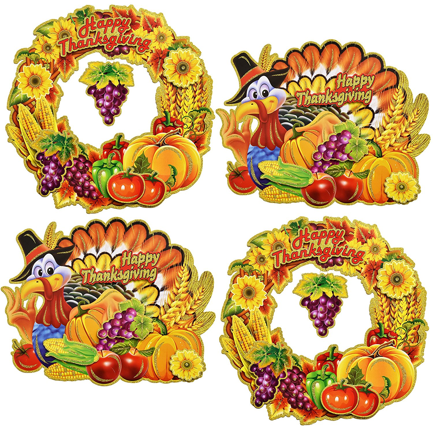 Happy Thanksgiving Cutout Hanging Decorations Harvest Autumn Turkey and Wreath Signs Fall Party Favor Supplies, 16 Inch By Gift Boutique