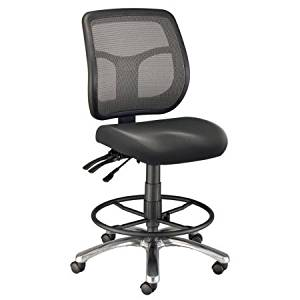 """Office Stool/Chair in Black, Chair with Footrest Ring, Adjustable, Home Furniture, Office Desk Chair, Metal Chair, Mesh Chair, Executive Chair, Bundle with Expert Guide """"Quality in Our Life"""""""