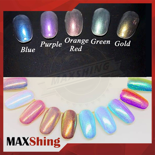 Aurora nail powder sparkling rainbow chrome effect mermaid nail art powders