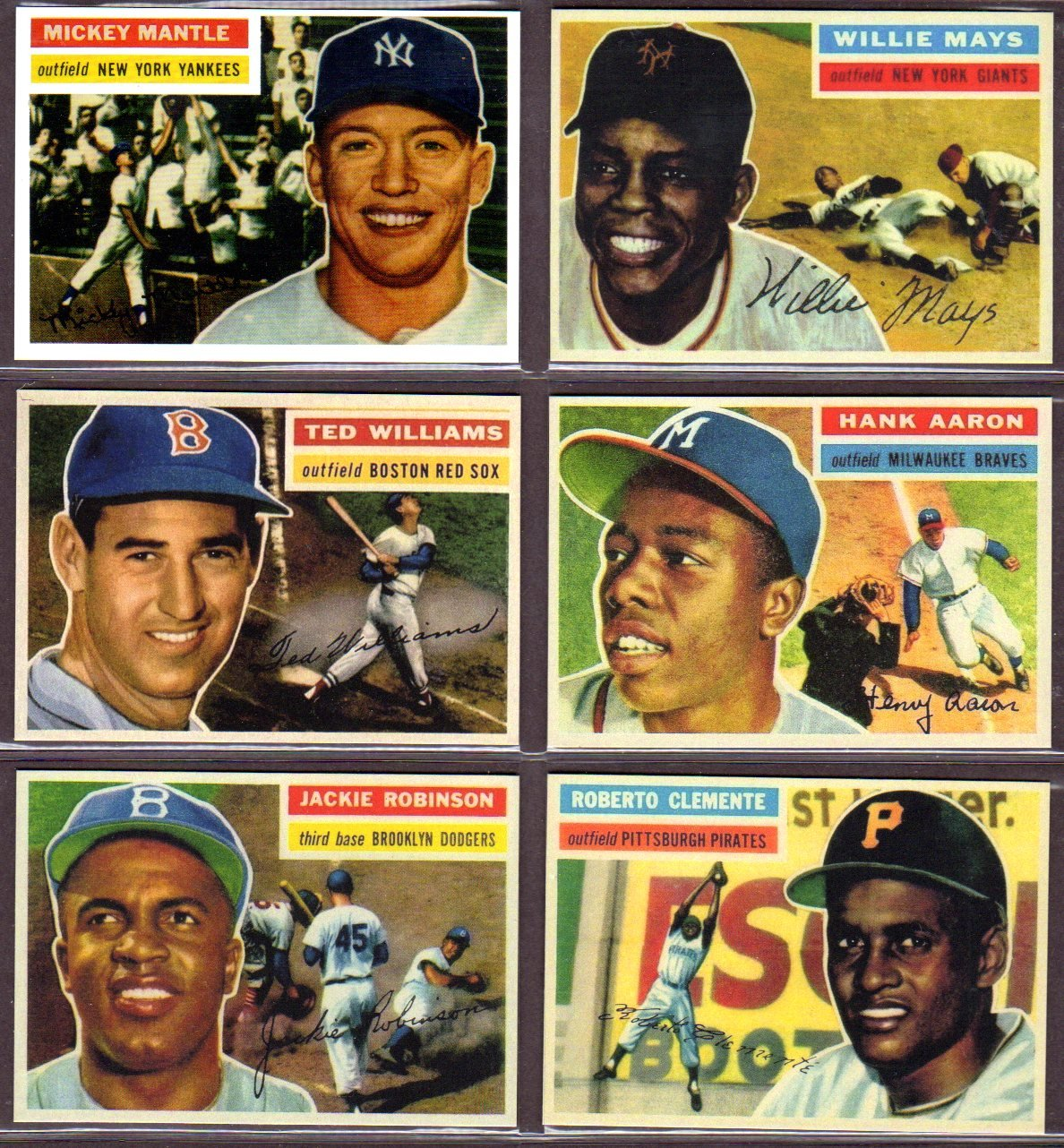 1956 (6) Card Topps Baseball Reprint Lot (Mickey Mantle) (Willie Mays) (Ted Williams) (Jackie Robinson) (Roberto Clemente) (Hank Aaron)