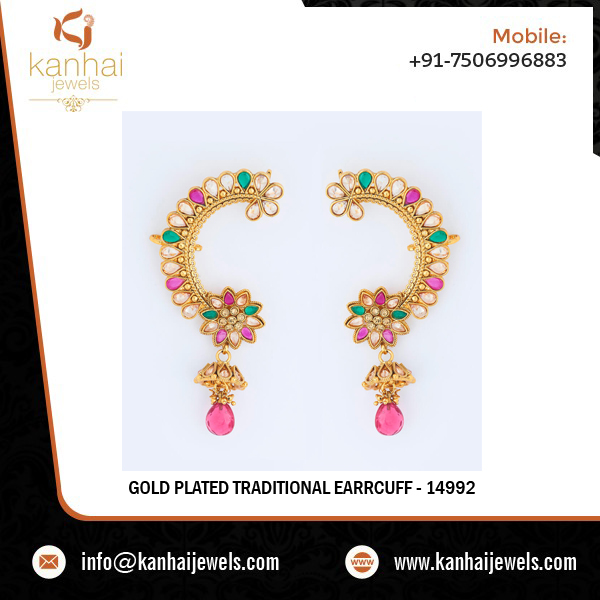 Gold Plated Cuff Imitation Earring 14992 Rubygreen