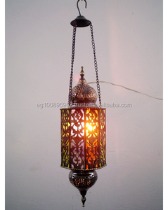 BR10 Cast Brass Islamic Decagon Lamp / Lantern With Colored Stained Glass