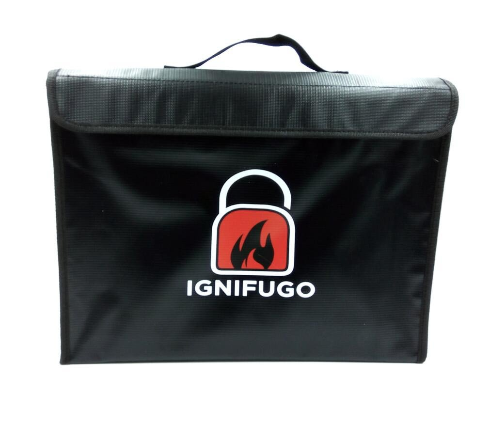 "Fireproof Bag by Ignifugo (15""x11""x3"") Fire & Water Resistant Money and Document Bag"
