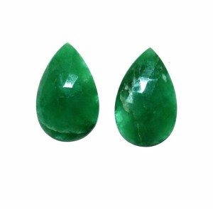 Natural Green Beryl Stone Pair 15 mm x 25 mm Pear Faceted Loose gemstone 32.8 Carats Pair for Earrings