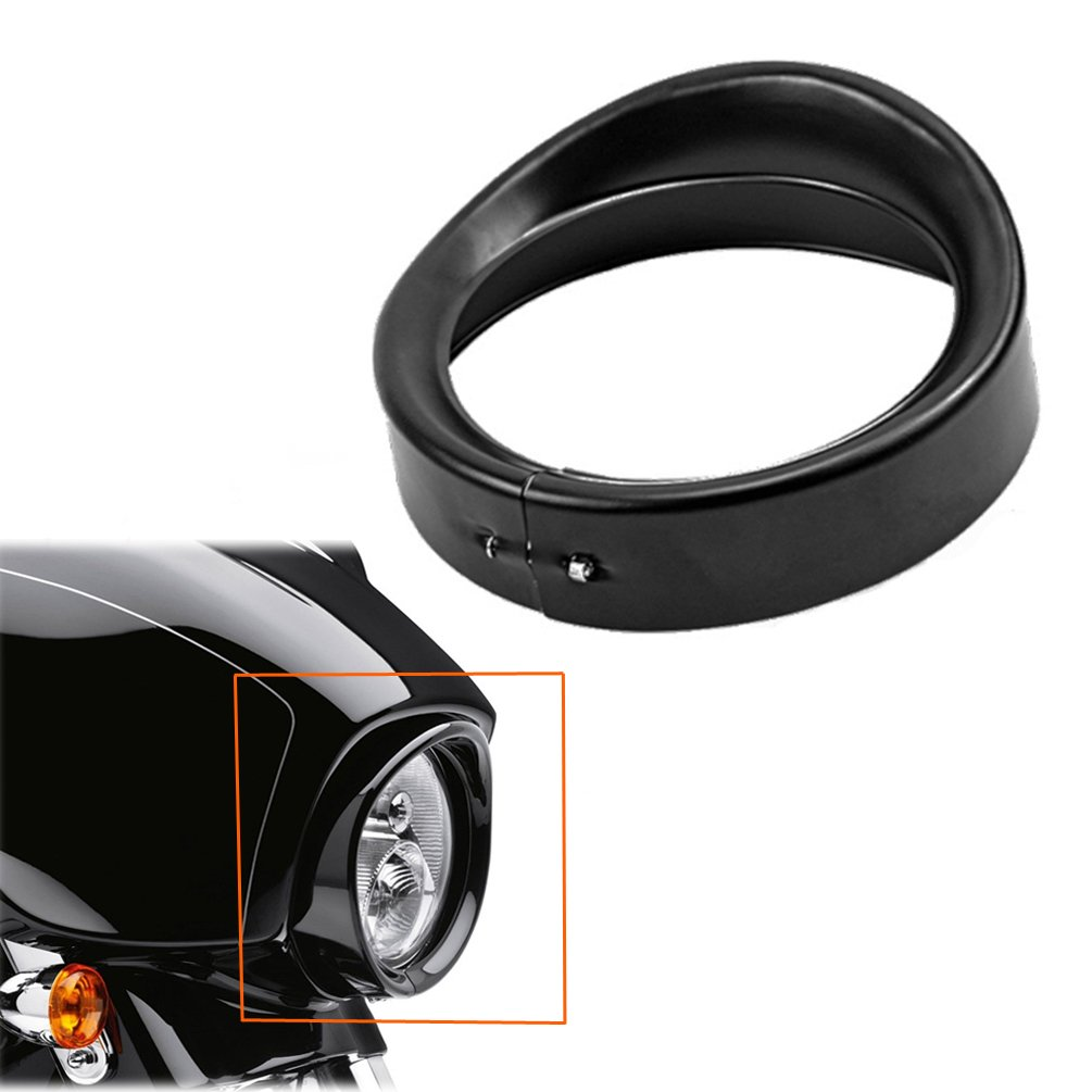 "ROCCS 7"" Harley Black Headlight Ring Motorcycle Headlight Trim Rings 7Inch Decorate Ring For Harley Davidson 83-13 Touring Bikes, Road King 94-14 FLHR,12-14 FLD, 86-14-FLST, 1PC"