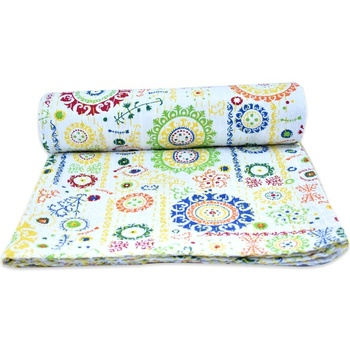 Indian cotton bedspread cotton quilt throw wholesale
