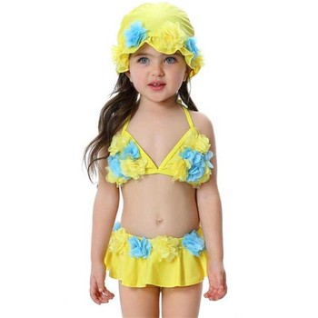 new flower three pc swim sets girls new BIKINI swimming suits with hat pant +top infant baby beach wear clothes