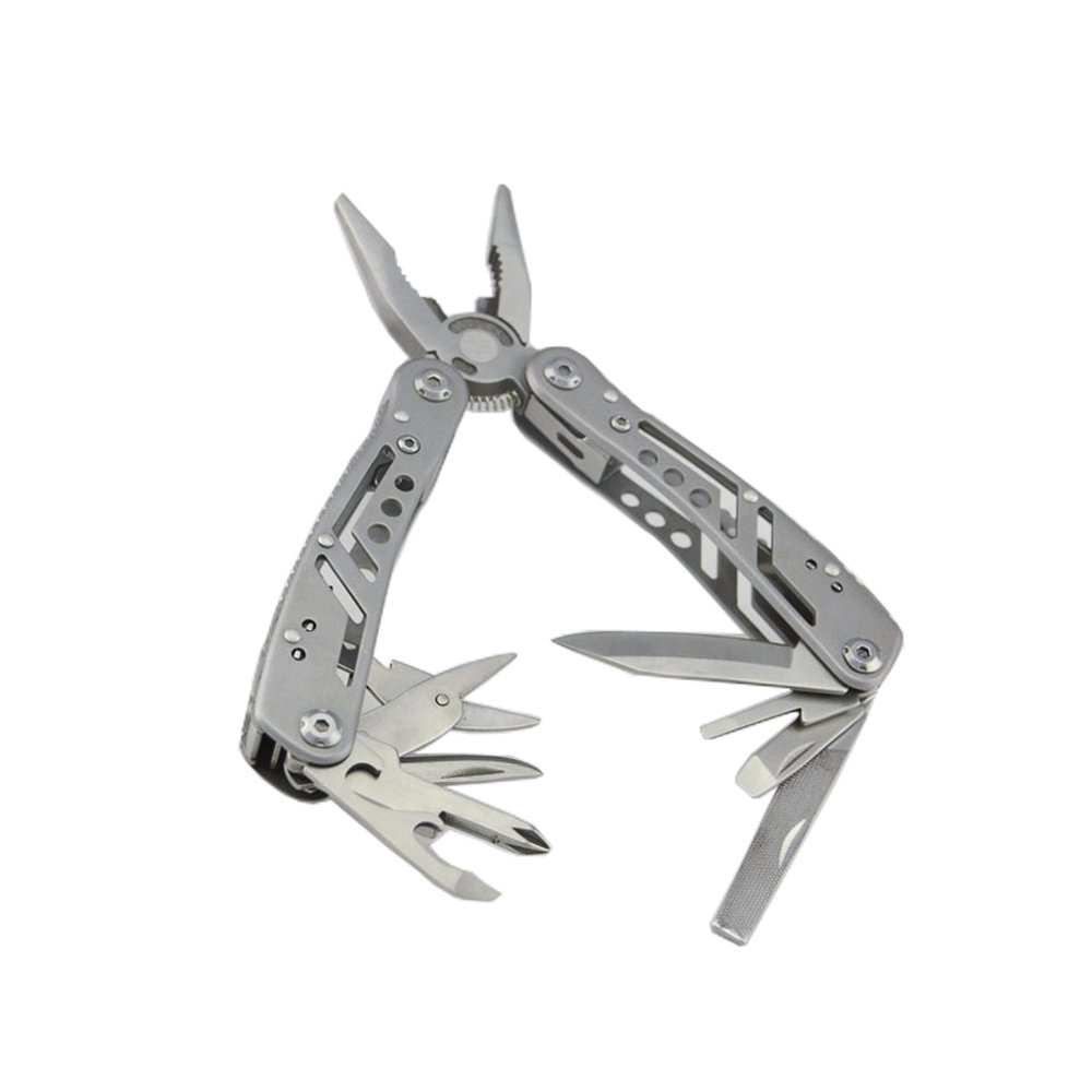 Multitool 12-in-1 Pocket Multi Tool Plier Knife Kit Heavy Duty Stainless Steel Multi-purpose Tool for Survival Camping Fishing Hunting Hiking (Silver)