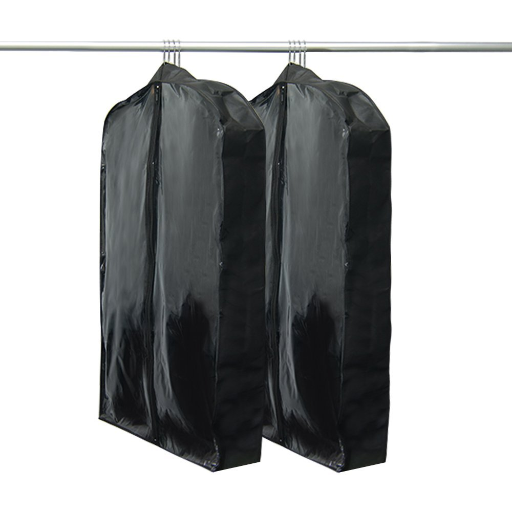 "Houseables Hanging Garment Bag, Travel Clothes Cover, Gusseted, 42"" x 24"" x 5"", 2 Pack, Black, Nylon, Fits Multiple Suits, Traveling Dress Protector, Suit Carrier, Jacket Cover, Luggage Carry On"