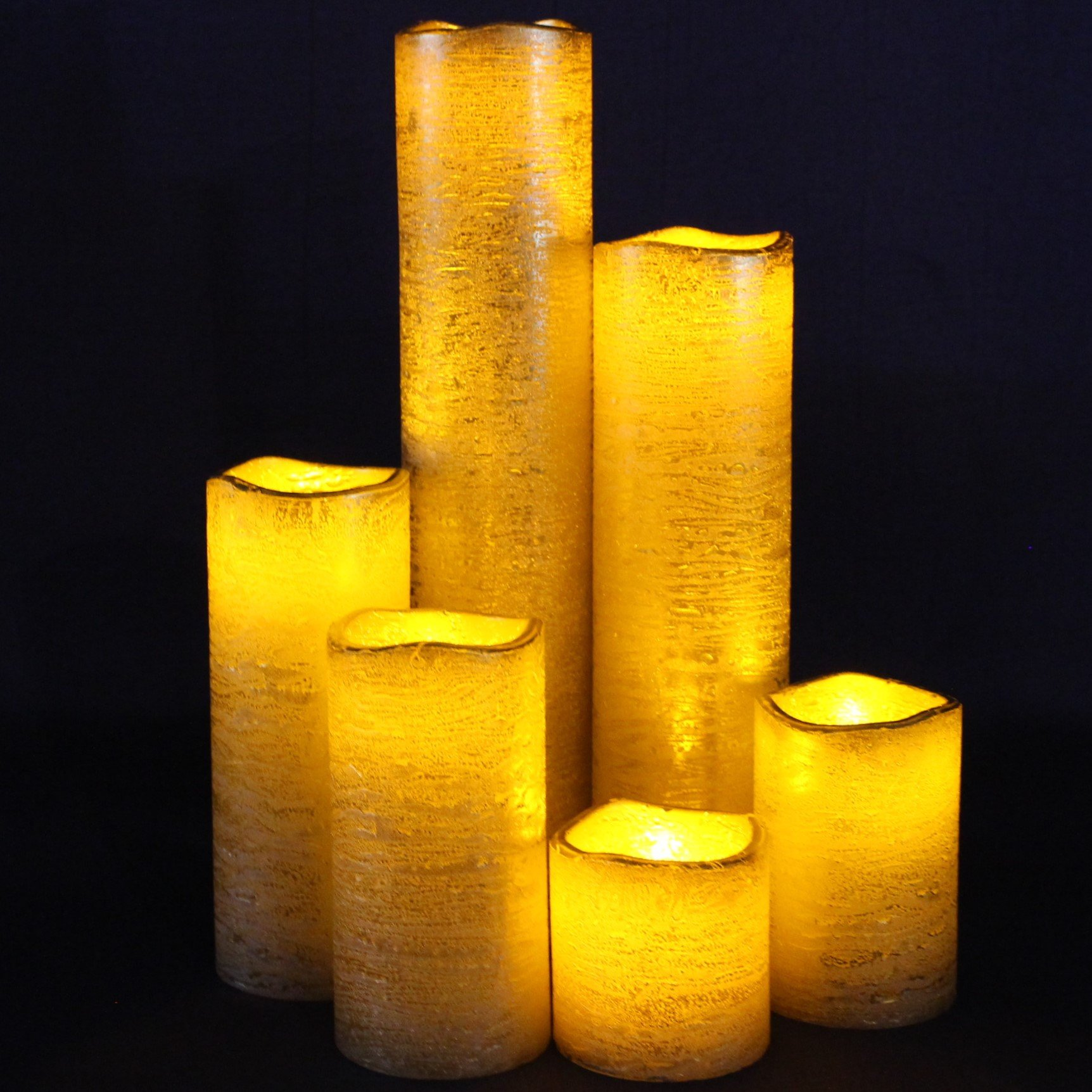 "Gold Flameless Timer LED Candles - Slim Set of 6, 2"" Wide and 2""- 9"" Tall, Rustic Gold Coated Wax and Flickering Amber Yellow Flame by LED Lytes Flameless Candles"