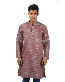 Top Selling Marsala Zig-Zag Cotton Hand Block Printed Cotton Kurta