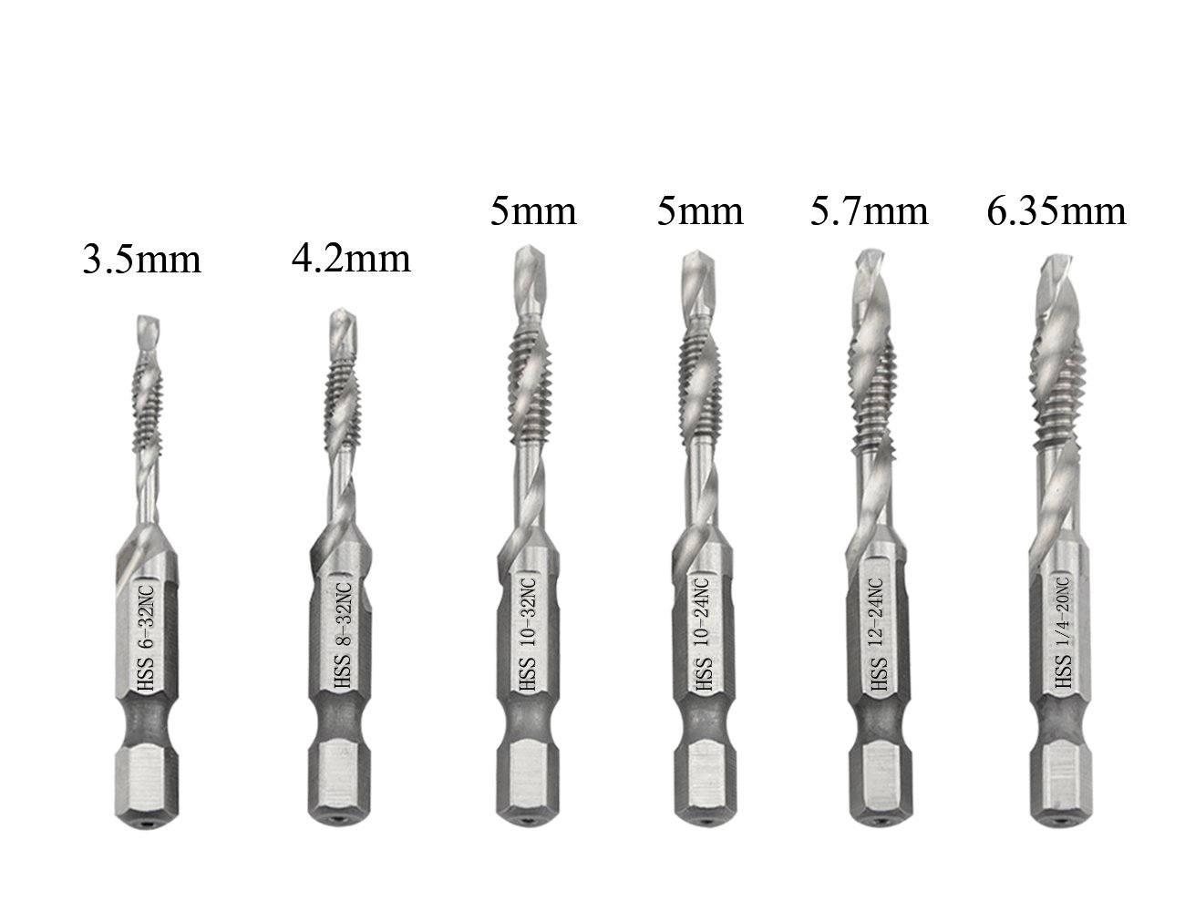TOVOT 6 PCS HSS 4341 Combination Drill Bit Set 6-32NC 8-32NC 10-32NC 10-24 NC12-24NC 1/4-20NC with 1/4 Inch Shank Countersink Screws Tap Bit 3.5 mm-6.35 mm