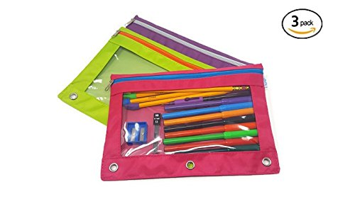 iWRITE 3-Ring Pencil Pouch with Clear Window(3-pack), BONUS Stationery Included, Binder Pencil Pouch Contrast Color Zippers, Available in Assorted Colors, Fits Standard Binders (Pink, Purple, Green)