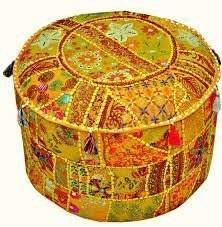 Indian Embroidered Patchwork Ottoman Cover,Indian Decorative Pouf Ottoman,Indian Comfortable Floor Cotton Cushion Ottoman Pouf,Indian Home Decorative Handmade Vintage Pouf Ottoman (Yellow)