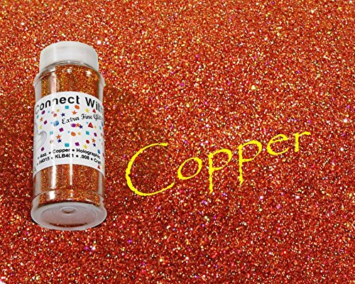 Copper, Extra Fine Holographic Glitter 1/128, 4oz Shaker Bottle