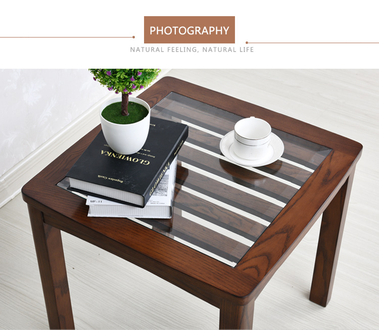 Gentil Latest Design Wooden Legs Glass Top Telephone Side Table Corner Table