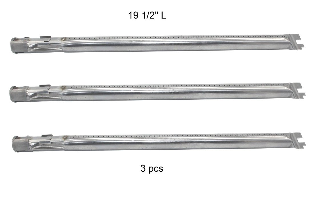 "(3-Pack) 19 1/2"" Stainless Steel Main Burner Tube for Weber Genesis 300 Series (2011-2016 Grill Models With ""Up Front"" Controls)"