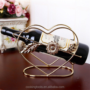 Double Heart Shape Metal Wine Rack Cute Stand Red Wine Shelf Beer Hanger Holders Champagne Bottle Rack Accessory Iron Craft